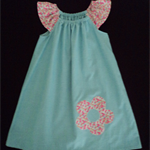 Sky Blue Chambray Peasant Dress with Flower Applique - Size 4