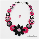 Crazy Daisy - Black White Pink - Button Necklace - Earrings