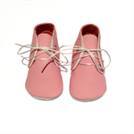 Handmade lambswool lined pink leather baby shoes