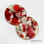 Red and White Buttons Drink coasters or paperweights - 2 pack - Resin