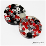 Red, Black and White Buttons Drink coasters or paperweights - 2 pack - Resin