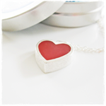 Textured Sterling Silver Heart Pendant with Red Resin on Sterling Chain
