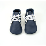 Handmade leather baby shoes.  Soft soled baby booties. Navy blue