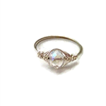 Handmade silver wire wrap ring, fine jewellery, with clear crystal