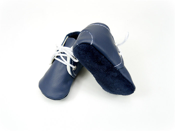 handmade leather baby shoes soft soled baby booties navy