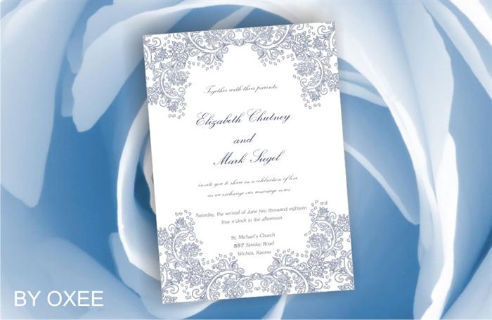 Printable wedding invitation template navy blue floral pattern by printable wedding invitation template navy blue floral pattern by oxee diy stopboris Choice Image