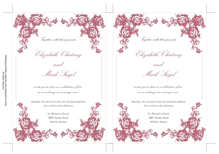 printable wedding invitation template vintage dusty pink roses by oxee diy