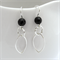 Sterling silver leaf shaped drop earrings with black onyx beads