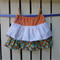 Orange Stripes and Summer Daisy layered girls skirt - size 3