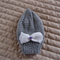 Size 2-4 yrs hand knitted beanie in light grey : OOAK, washable