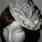 Medieval Magnolia..Designer Wedding Bride White HeadPiece Lace Sculpture Flower