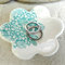 Flower porcelain ring dish, turquoise, lace imprint. Candle holder, Ceramic.