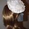 Medieval Magnolia SALE Designer  Bride White Headpiece Lace Sculpture Flower
