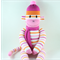'Poppy' the Sock Monkey (orange/pink/white stripes) - *ready to post*