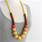 Natural Coloured Wood + Hot Pink Polymer Clay+ Tan Wood + Yellow Wood Necklace