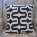 Navy & White Retro Pillow Covers x 2- Same Fabric on both sides ..44 x 44 cm