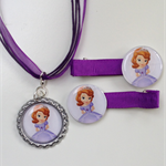 Princess Sofia the First Image Boutique Bottlecap Pendant Necklace & Hair Clips
