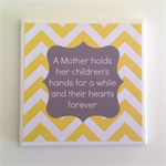 1 x Ceramic Tile Drink Coaster Yellow & Grey Mother Quote for Mother's Day