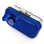 Clamshell / box clutch purse - vibrant blue and black snakeskin print
