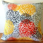 Indoor/Outdoor Blooms in Citrus Cushion