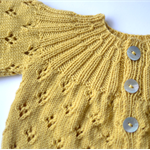 Ready to Ship Hand Knitted Vintage Inspired Mustard Baby Cardigan for 3M to 9M