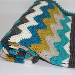 Crocheted Chevron Pram Cot Nursery Blanket in   