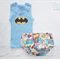 Baby boy nappy diaper cover and singlet set super hero batman