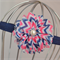 Navy & Pink Chevron Flower Headband, size 3 yrs - teen