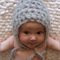 Textured Mohair Bonnet / 3-6 Months / Photography Prop / Grey