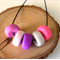 Pink Fairy Floss Polymer Clay Necklace