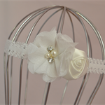 White Flower Headband, size 6 months - 3yrs, christening, wedding, flowergirl
