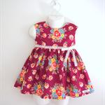 Size1 Burgundy Retro flower Party dress