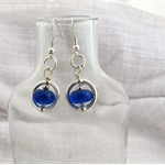 Earrings made from recycled bottle glass