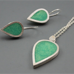 Lime Drops Sterling Silver and Resin pendant and earrings set