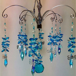 Stunning Aqua Crystal Chandelier with dragonflies