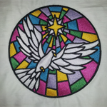 Peace Dove on Stained Glass Embroidery
