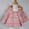 Baby Capelet with Hood pink & ivory wool with soft yellow and pick cotton lining
