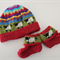 Red Sheep Hat and Matching Booties - up to 6 months - Hand knitted