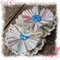 Blue Fabric and Lace Flower Snap Clips