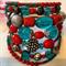 Red turquoise silvertone 7 wrap around bracelet memory wire bracelets