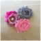 Set of 3 shabby chiffon flower hair clips