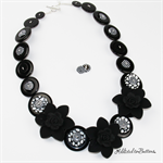 Blooming Gorgeous - Black Flowers with black white Buttons - Necklace - Earrings