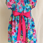 Aqua and pink hibiscus dress size 4