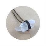 CLOSING DOWN SALE Raw Crystal Clear Quartz Cluster Bronze Pendant Necklace