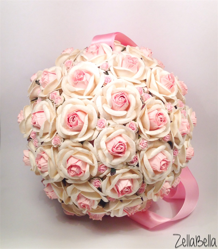 Off white with pale pink mulberry paper flower ball zella bella off white with pale pink mulberry paper flower ball mightylinksfo