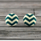 Buy 2 pairs and get third set free (Fabric button studs only). Teal Chevron