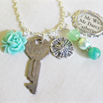 Mr Darcy Charm Necklace Green Glass Pearls Beaded Jane Austen Vintage Key Boho