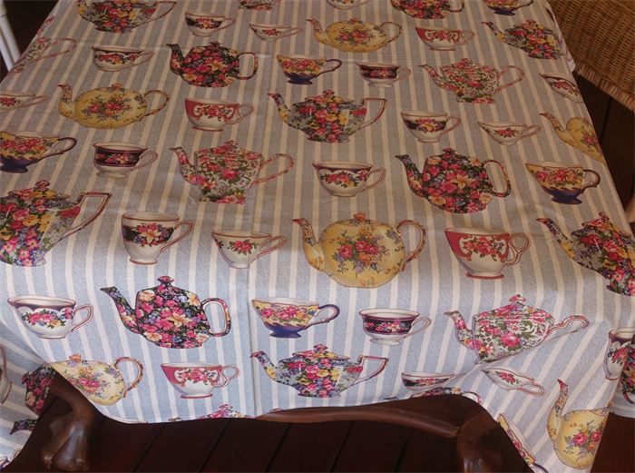 Tea Party Collection Tablecloth With English Teapot And Cup Design