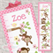 {Pretty Monkeys} Personalised Fabric Height Chart 30x106cm