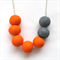 Bright orange and grey granite polymer clay bead necklace